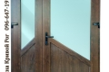 Двойная металлопластиковая дверь с косыми перемычками в коричневом цвете