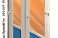 Двойная металлопластиковая дверь с косой перемычкой в двух цветах