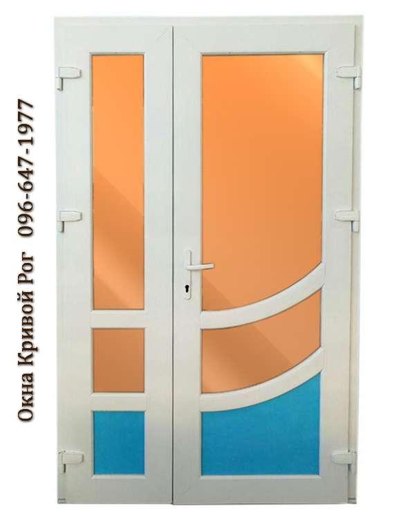Металлопластиковые двери с оранжевым стеклом