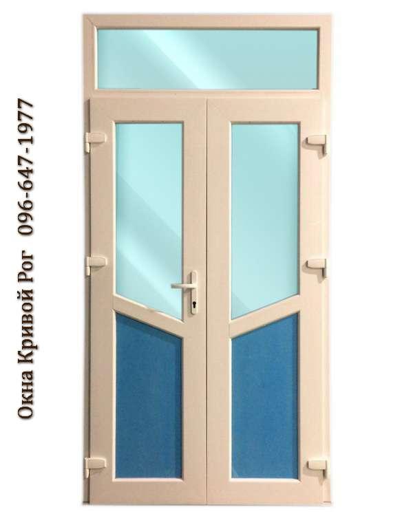 Металлопластиковые двери с синим и голубым стеклом