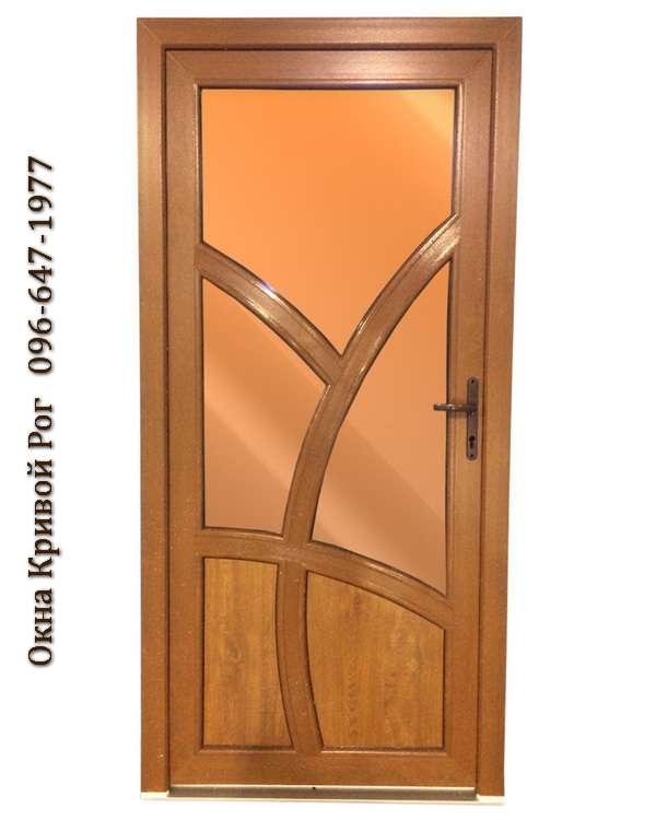 металлопластиковые двери в коричневой ламинации. Заказать недорого в Кривом Роге