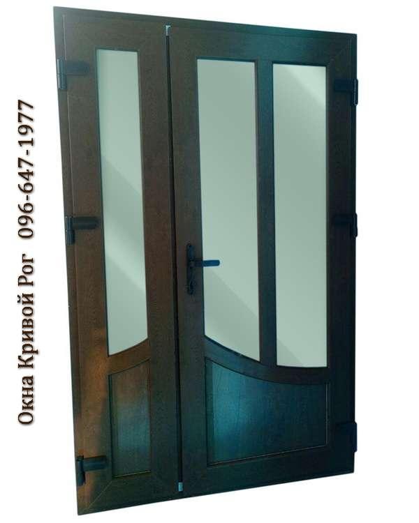 Пластиковые двери с двумя створками