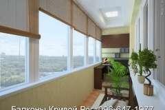 Украшение балкона мебелью и шторами