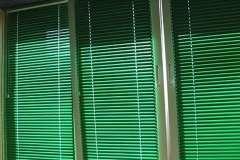 Тёмно зелёные горизонтальные жалюзи на окна