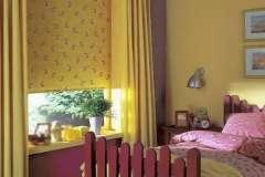 Жёлтые с рисунком тканевые жалюзи на пластиковые окна по хорошим ценам
