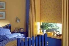 Жёлтые тканевые роллеты в интерьере Жёлтое - Синее