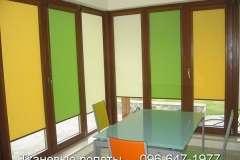 Жёлтые, зелёные и бежевые рулонные шторы