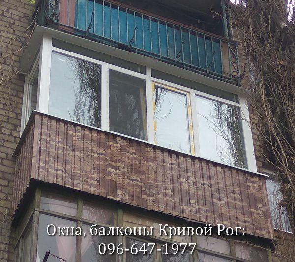 обшивка балкона профлистом под цвет камень